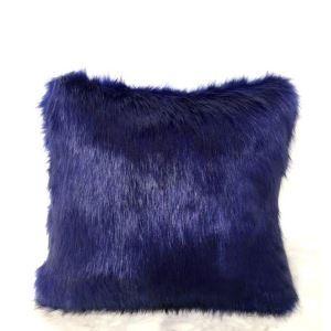 Taie de coussin oreiller Bleu marine Haute imitation fourrure de renard recto verso