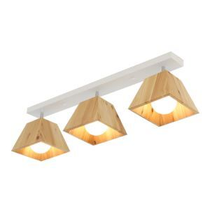 Projecteur à 1/2/3 spots en métal abat-jour en bois massif simple pour couloir salle