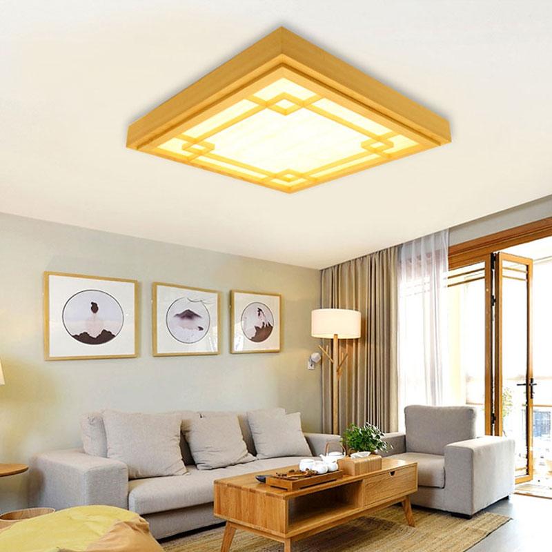 Lampe contemporain LED de plafond carré en bois massif pour ...
