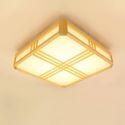 Plafonnier LED en bois massif carré style simple pour hôtel chambre