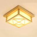 Plafonnier japonais en bois massif PVC LED moderne pour salon salle d'étude