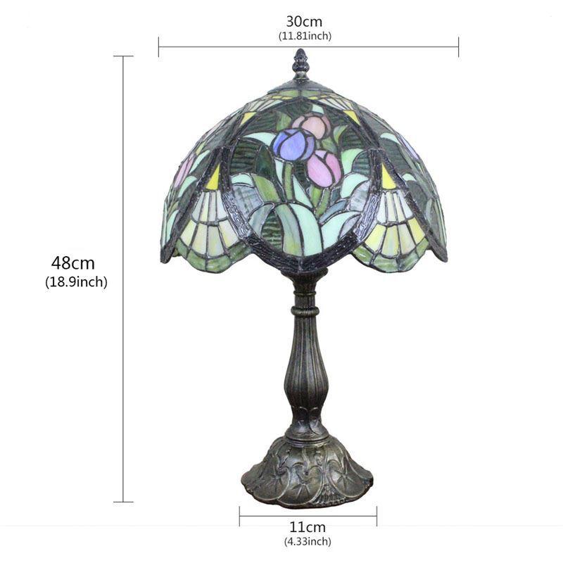 Lampe à poser en verre rétro pour chevet table fleurs