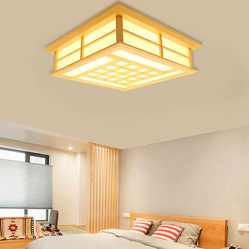 Plafonnier contemporain LED en bois massif pour chambre à ...