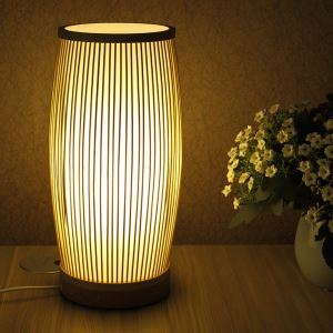 Lampe de table tissée colonne en bambou style japonais simple pour chambre à coucher