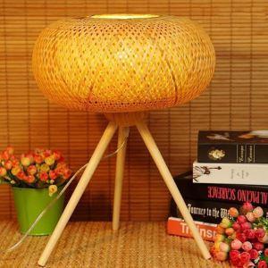 Lampe à poser en bambou support triangulaire moderne pour salon salle à manger