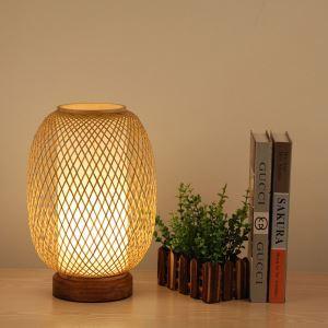 Lampe à poser tissée lanterne en bambou pour chambre à coucher salon