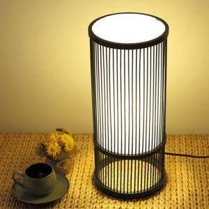 Lampe à poser colonne en bambou style japonais moderne pour salle d'étude chambre à coucher