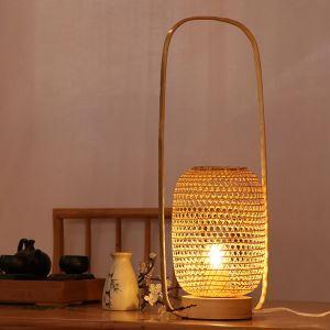 Lampe de table tissée panier en bambou style simple pour chambre à coucher salle d'étude