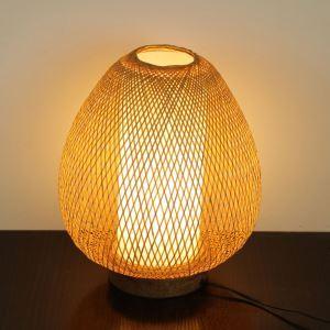 Lampe de table japonais tissée en bambou œuf pour chambre à coucher salle