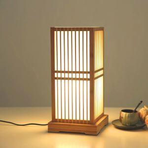 Lampe à poser style japonais en bambou moderne pour salon chambre à coucher