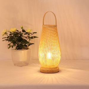 Lampe à poser style japonais simple tissé en bambou pour hôtel chambre à coucher