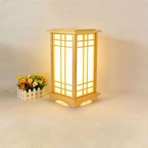 Lampadaire japonais en bois massif naturel style simple pour chambre à coucher salle