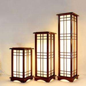 Lampadaire classique en bois massif foncé style simple pour chambre à coucher salon