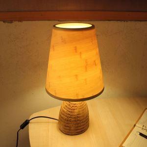 lampe de table en bambou naturelle style pastoral pour chambre à coucher salle d'étude