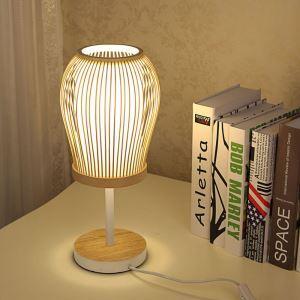 Lampe à poser tissée à la main en bambou H40cm pour chambre à coucher salle d'étude