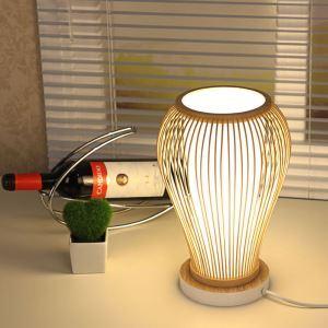 Lampe à poser en bambou style pastoral simple pour bar café chambre à coucher
