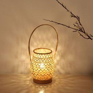 Lampe de table en bambou en forme de panier moderne pour salle d'étude chambre à coucher