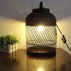 Lampe de table tissée en bambou classique pour chambre à coucher salon