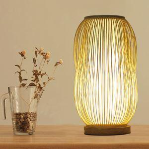 Lampe à poser en bambou H38cm lumière chaude simple pour salon salle d'étude