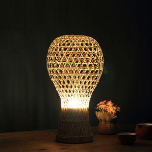 Lampe de table en bambou créative style pastoral pour chambre à coucher salle d'étude