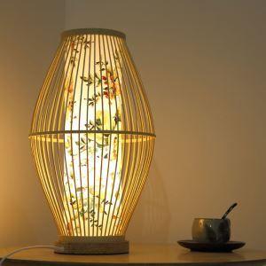Lampe de table en bambou abat-jour imprimé fleur moderne pour salon chambre à coucher
