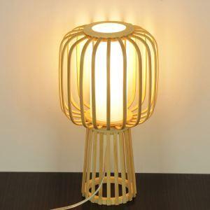 Lampe de table tissée en bambou style japonais moderne pour chambre à coucher salon