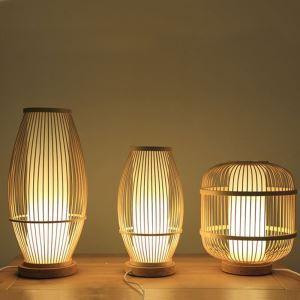Lampe à poser tissée en bambou chinois pour chambre à coucher salon