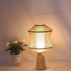Lampe de table japonais en bambou H48cm pour hôtel salon chambre à coucher