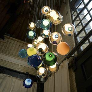 Suspension en métal D12cm 5 modèles boule en verre coloré pour chambre salle simple