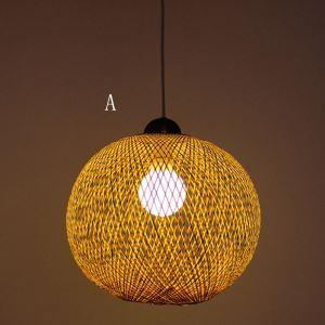 Suspension tissée boule en bambou pastorale pour chambre à coucher salon