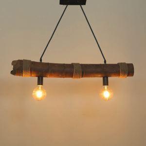 Plafonnier en bambou à deux lampes style de campagne pour chambre à coucher salon