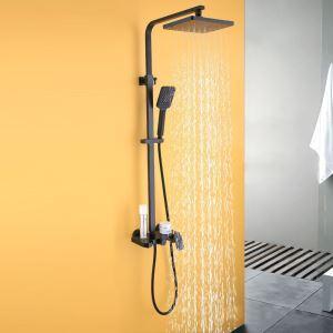 Colonne de douche noir élégant avec pommeau haut  pour salle de bains