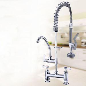 Mitigeur de cuisine assis à haute pression avec robinet rotatif et douche