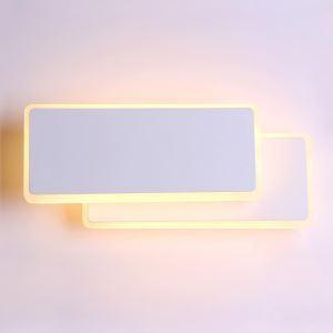 Applique murale LED deux rectangles en aluminium blanche pour chambre salon
