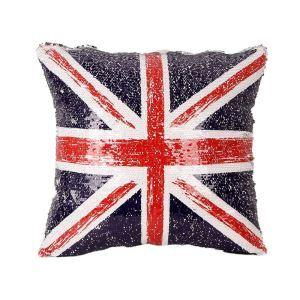 Taie d'oreiller paillettes magiques drapeau britannique 40*40cm pour canapé sofa