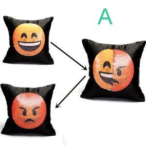 Housse de coussin paillettes expression faciale magique 40*40cm pour canapé sofa