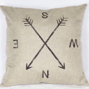 Taie de coussin en lin boussole 45 x 45 cm pour canapé sofa