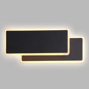 Applique murale LED deux rectangles en aluminium noire pour chambre salon