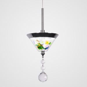 Suspension LED conique en résine cristal D10cm pour salle à manger bar salon