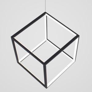 Suspension LED cube noire en aluminium moderne pour salle à manger bar