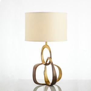 Lampe à poser en cuivre abat-jour de tissu H66cm 3 boucles combinés or pour salon chambre