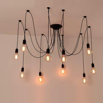 Lustre à 10 Lampes D80cm Vintage Artistique Noir Peinture Pour