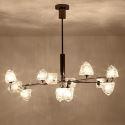 Lampe suspendue contemporaine noire avec abat-jour en verre