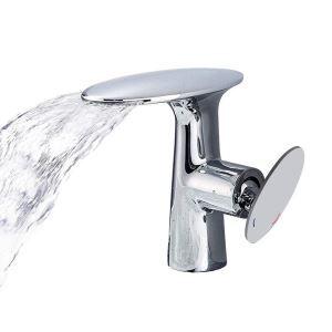 Mitigeur de lavabo cascade cuivre pour salle de bain chromé