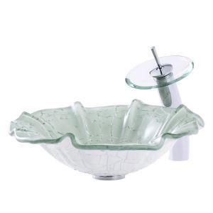 Lavabo à poser verre trempé feuille de lotus avec robinet pour salle de bains