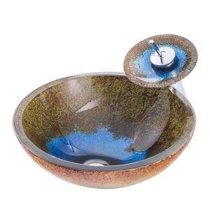 Lavabo en verre trempé rond vert et bleu cascade avec robinet pour salle de bains