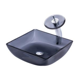 Vasque transparente verre trempé carré grise avec robinet pour salle de bains