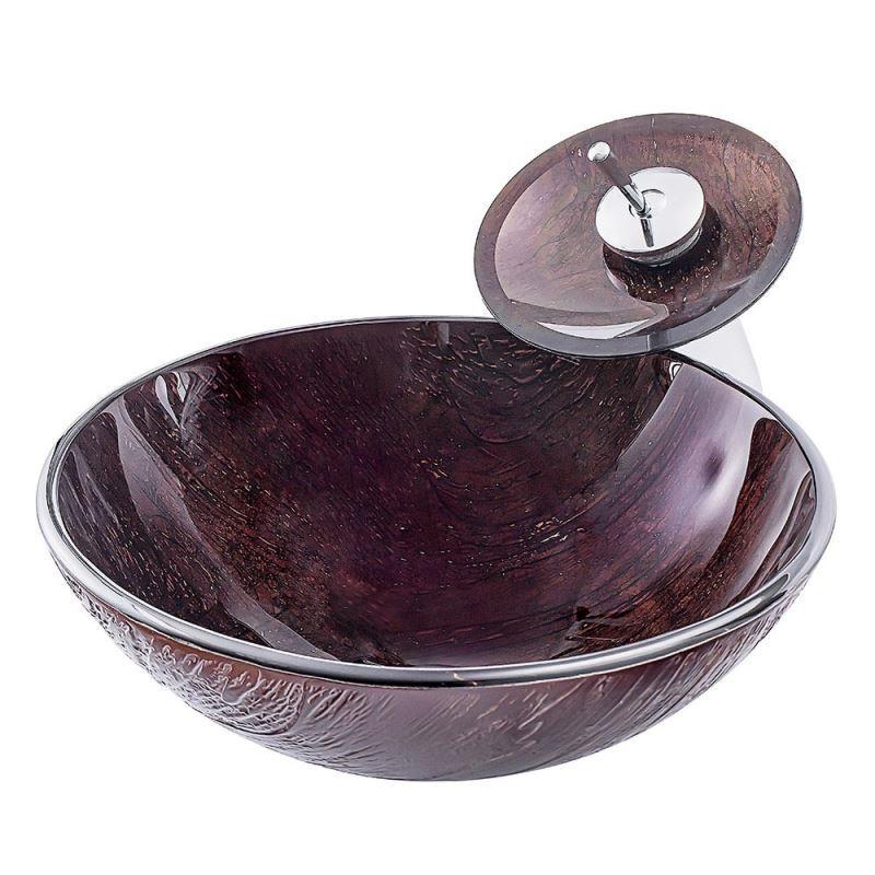Vasque à poser en verre trempé ronde rayure rétro avec robinet pour salle  de bains
