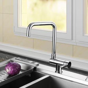 Robinet de cuisine rotatif chromé avec fonction de commutation de l'eau