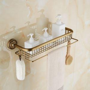 Etagère de bain en laiton noir pour salle de bain style rétro